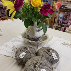 tea and knitting hebridean yarn