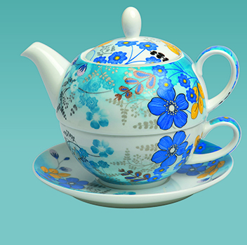 tea for one with blue flowers