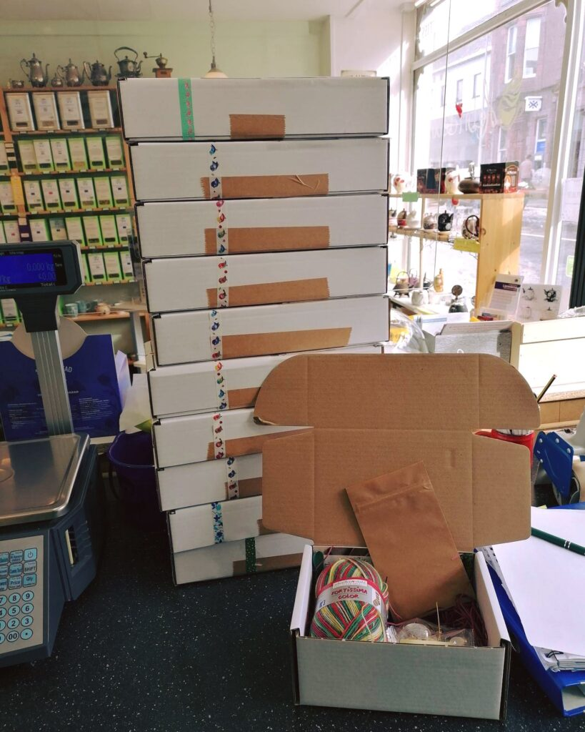 order processing parcels on counter